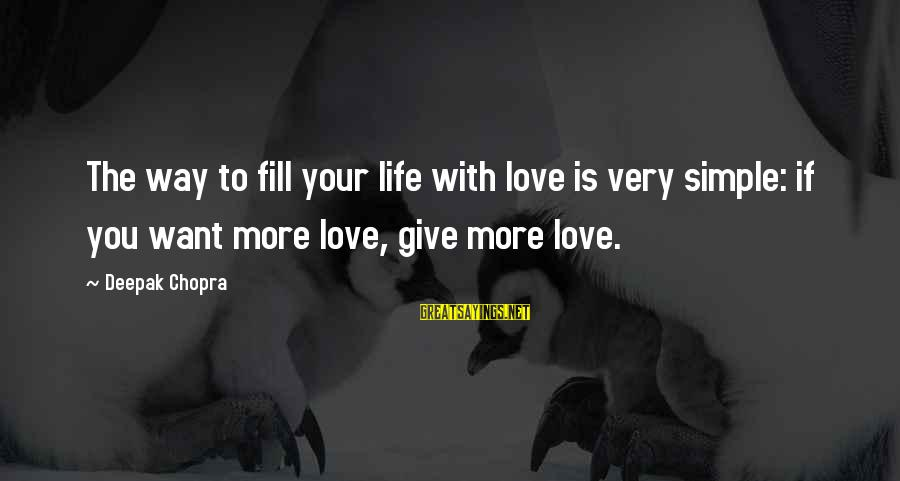 Life Deepak Chopra Sayings By Deepak Chopra: The way to fill your life with love is very simple: if you want more