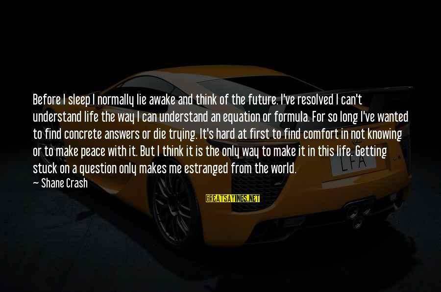 Life Formula Sayings By Shane Crash: Before I sleep I normally lie awake and think of the future. I've resolved I