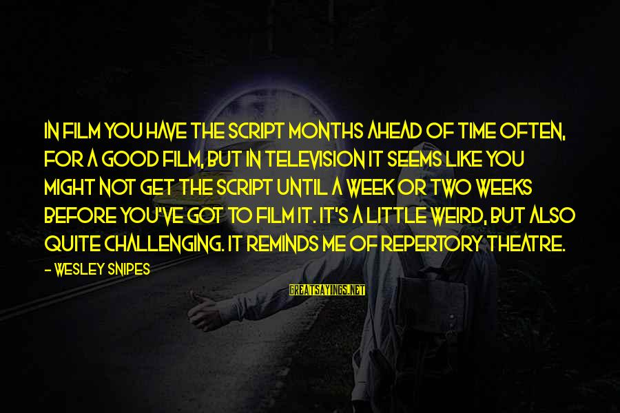 Life From Unwind Sayings By Wesley Snipes: In film you have the script months ahead of time often, for a good film,