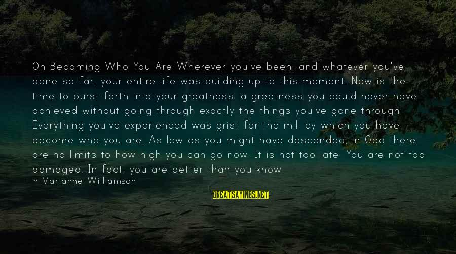 Life High And Low Sayings By Marianne Williamson: On Becoming Who You Are Wherever you've been, and whatever you've done so far, your