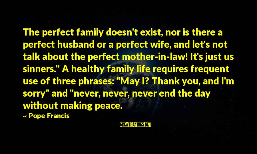 Life Husband And Wife Sayings By Pope Francis: The perfect family doesn't exist, nor is there a perfect husband or a perfect wife,