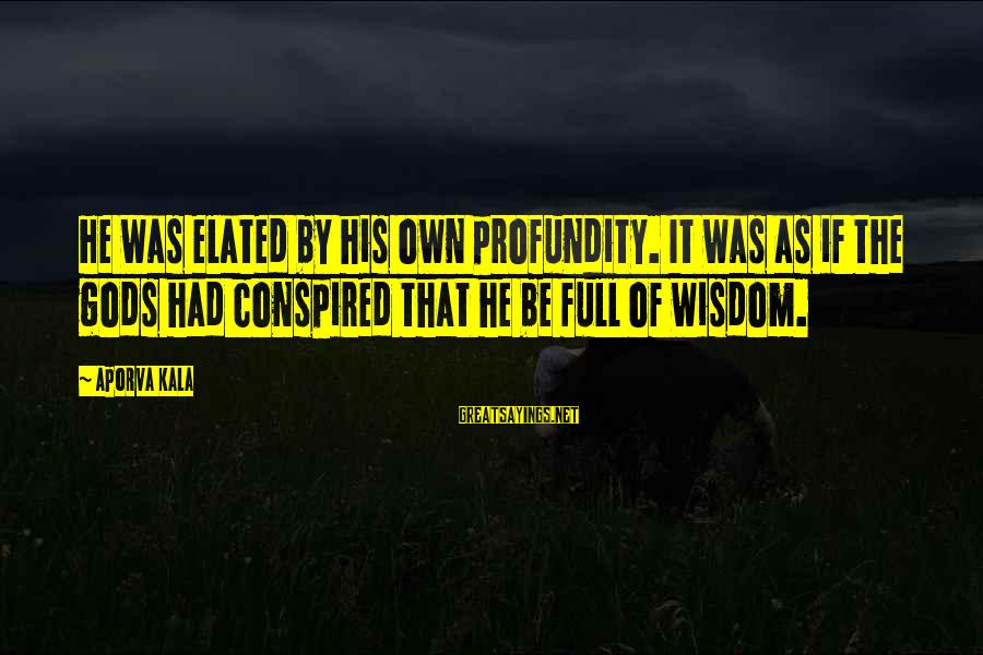 Life Is Full Of Lessons Sayings By Aporva Kala: He was elated by his own profundity. It was as if the gods had conspired