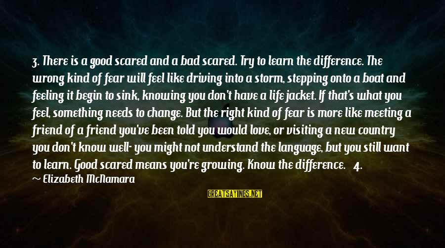 Life Is Like A Boat Sayings By Elizabeth McNamara: 3. There is a good scared and a bad scared. Try to learn the difference.
