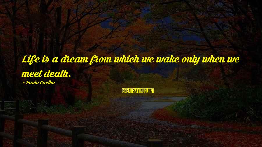Life Is Only A Dream Sayings By Paulo Coelho: Life is a dream from which we wake only when we meet death.