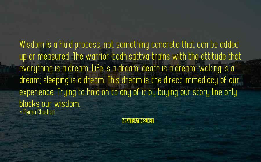 Life Is Only A Dream Sayings By Pema Chodron: Wisdom is a fluid process, not something concrete that can be added up or measured.