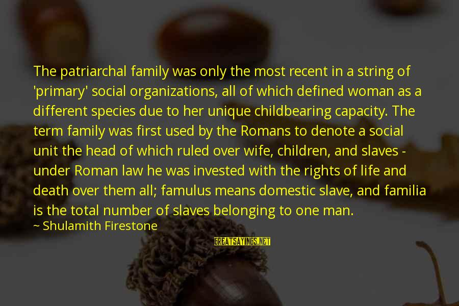 Life Of A Man Sayings By Shulamith Firestone: The patriarchal family was only the most recent in a string of 'primary' social organizations,