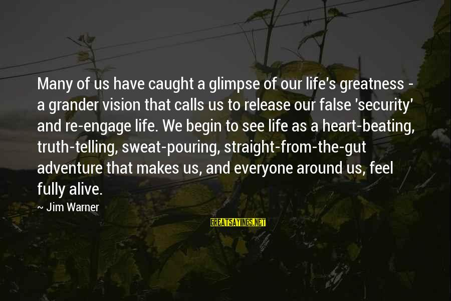 Life Re-evaluation Sayings By Jim Warner: Many of us have caught a glimpse of our life's greatness - a grander vision