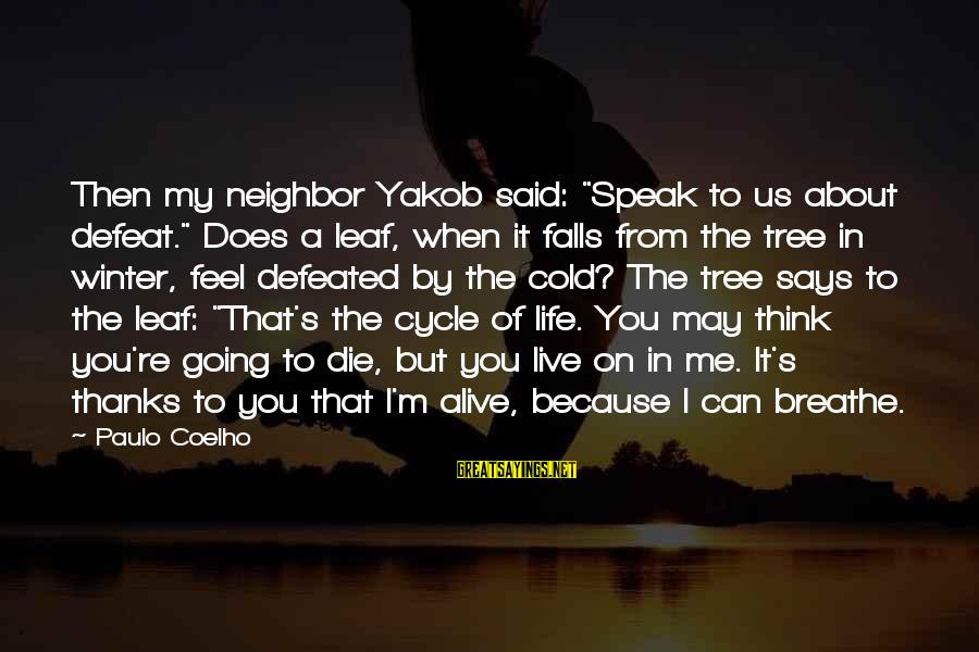 """Life Re-evaluation Sayings By Paulo Coelho: Then my neighbor Yakob said: """"Speak to us about defeat."""" Does a leaf, when it"""