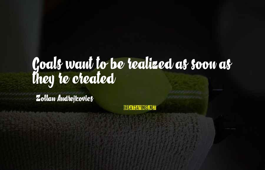 Life Re-evaluation Sayings By Zoltan Andrejkovics: Goals want to be realized as soon as they're created.