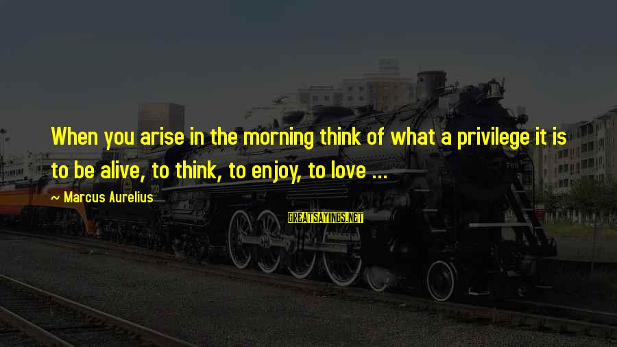 Life Seize The Day Sayings By Marcus Aurelius: When you arise in the morning think of what a privilege it is to be