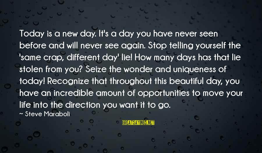 Life Seize The Day Sayings By Steve Maraboli: Today is a new day. It's a day you have never seen before and will