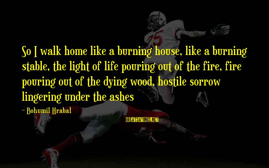 Life Stable Sayings By Bohumil Hrabal: So I walk home like a burning house, like a burning stable, the light of