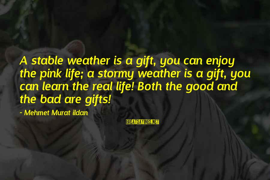 Life Stable Sayings By Mehmet Murat Ildan: A stable weather is a gift, you can enjoy the pink life; a stormy weather