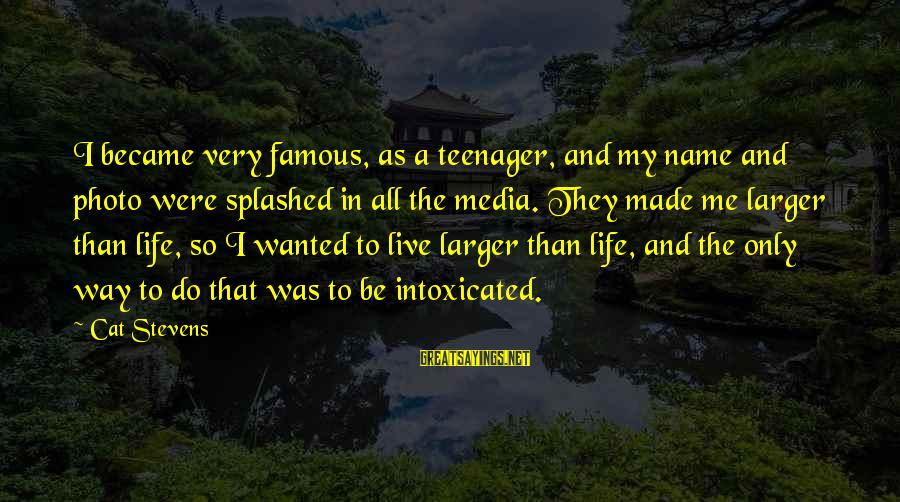 Life Teenager Sayings By Cat Stevens: I became very famous, as a teenager, and my name and photo were splashed in
