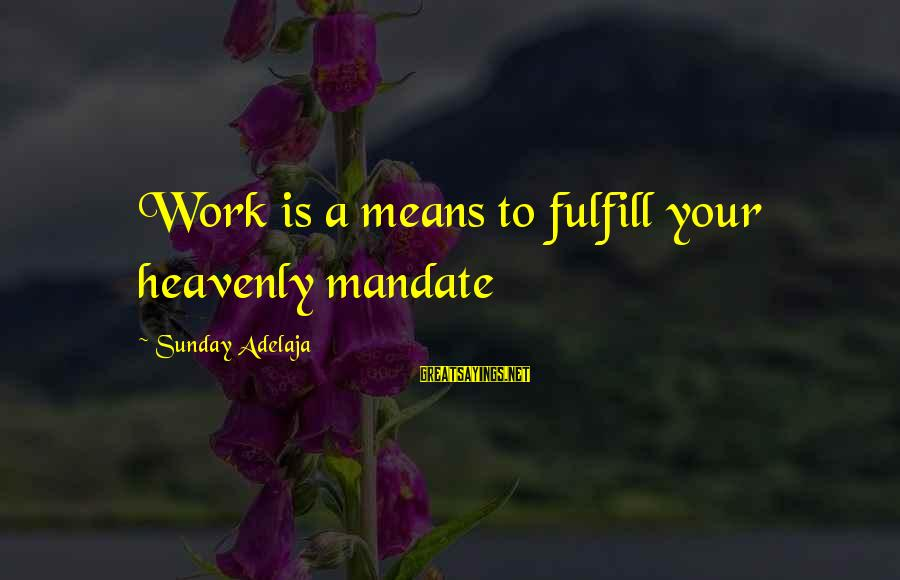 Life Time Love Sayings By Sunday Adelaja: Work is a means to fulfill your heavenly mandate