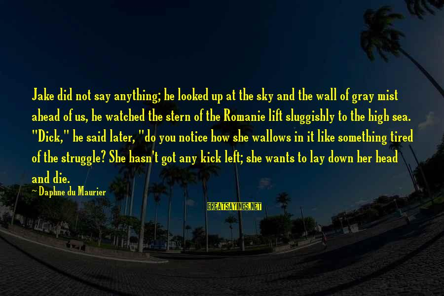 Lift Up Sayings By Daphne Du Maurier: Jake did not say anything; he looked up at the sky and the wall of