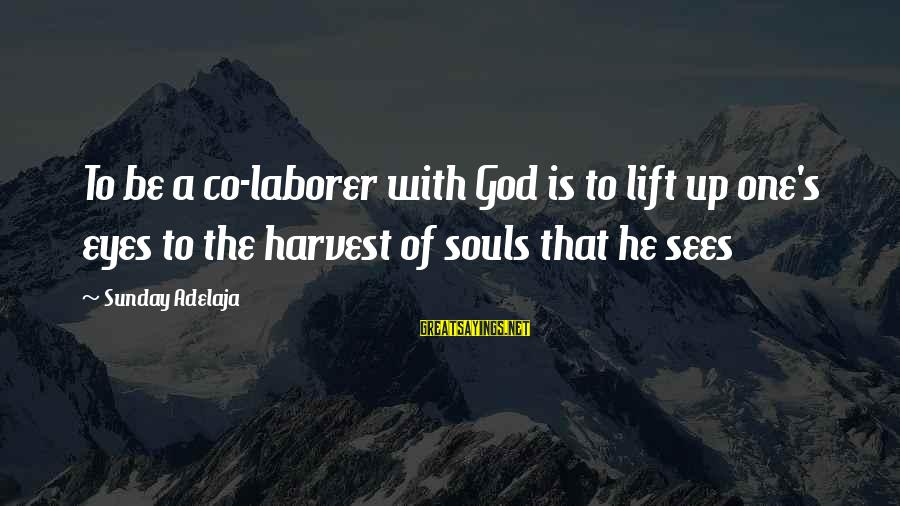 Lift Up Sayings By Sunday Adelaja: To be a co-laborer with God is to lift up one's eyes to the harvest