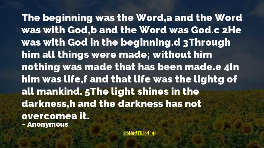 Light Shines In The Darkness Sayings By Anonymous: The beginning was the Word,a and the Word was with God,b and the Word was