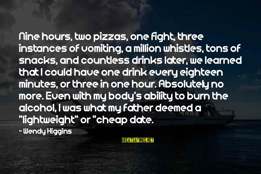 Lightweight Sayings By Wendy Higgins: Nine hours, two pizzas, one fight, three instances of vomiting, a million whistles, tons of