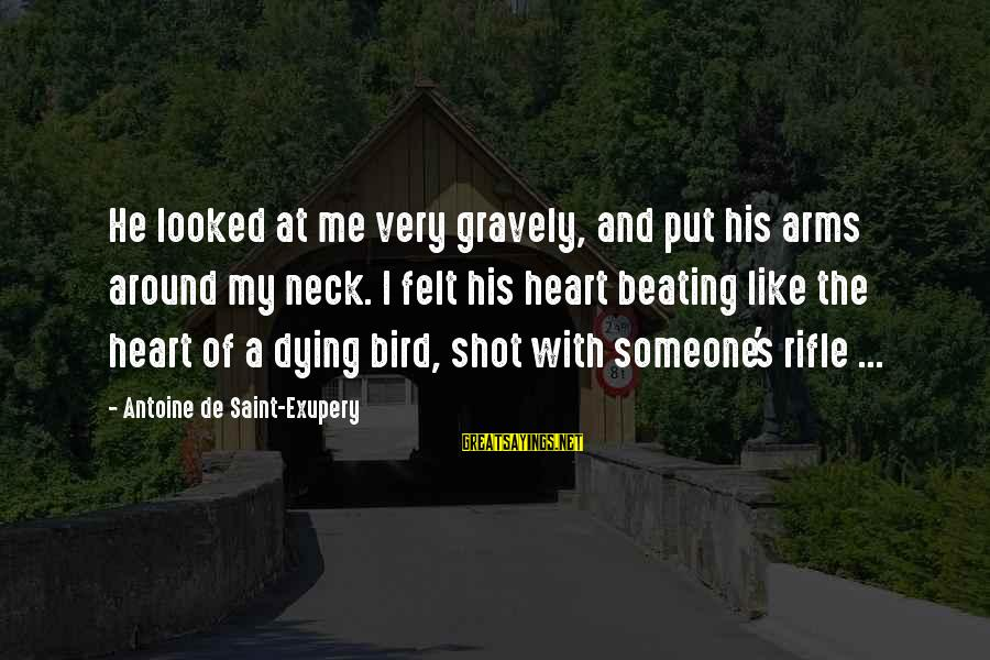 Like A Bird Sayings By Antoine De Saint-Exupery: He looked at me very gravely, and put his arms around my neck. I felt