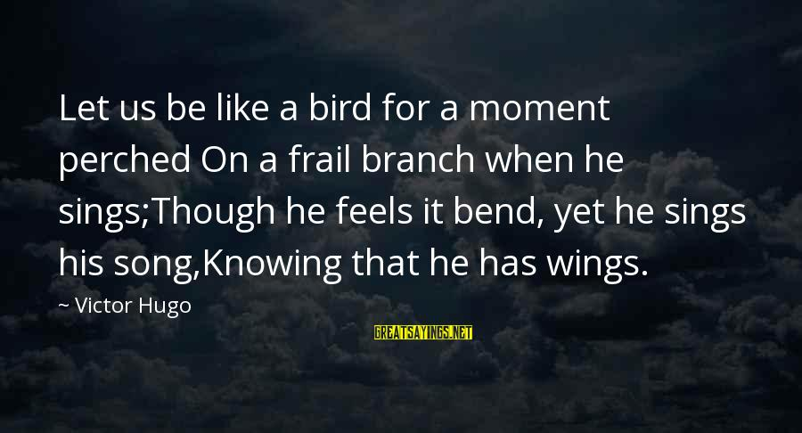 Like A Bird Sayings By Victor Hugo: Let us be like a bird for a moment perched On a frail branch when