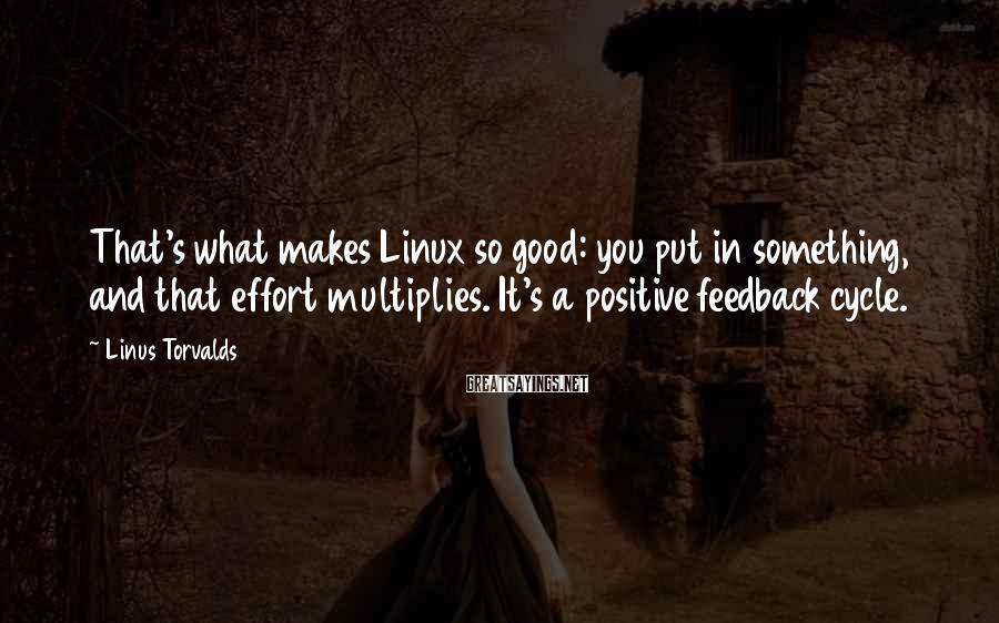 Linus Torvalds Sayings: That's what makes Linux so good: you put in something, and that effort multiplies. It's