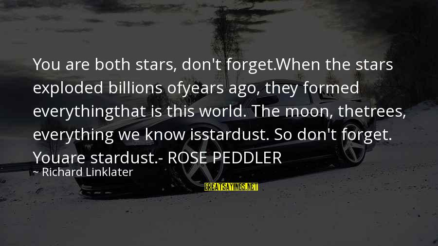 Linux Printf Sayings By Richard Linklater: You are both stars, don't forget.When the stars exploded billions ofyears ago, they formed everythingthat