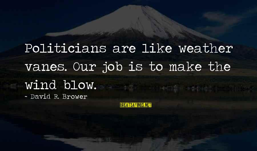 Little Helping Hands Sayings By David R. Brower: Politicians are like weather vanes. Our job is to make the wind blow.