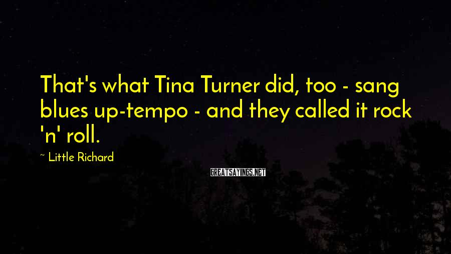 Little Richard Sayings: That's what Tina Turner did, too - sang blues up-tempo - and they called it