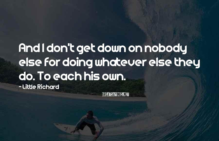 Little Richard Sayings: And I don't get down on nobody else for doing whatever else they do. To