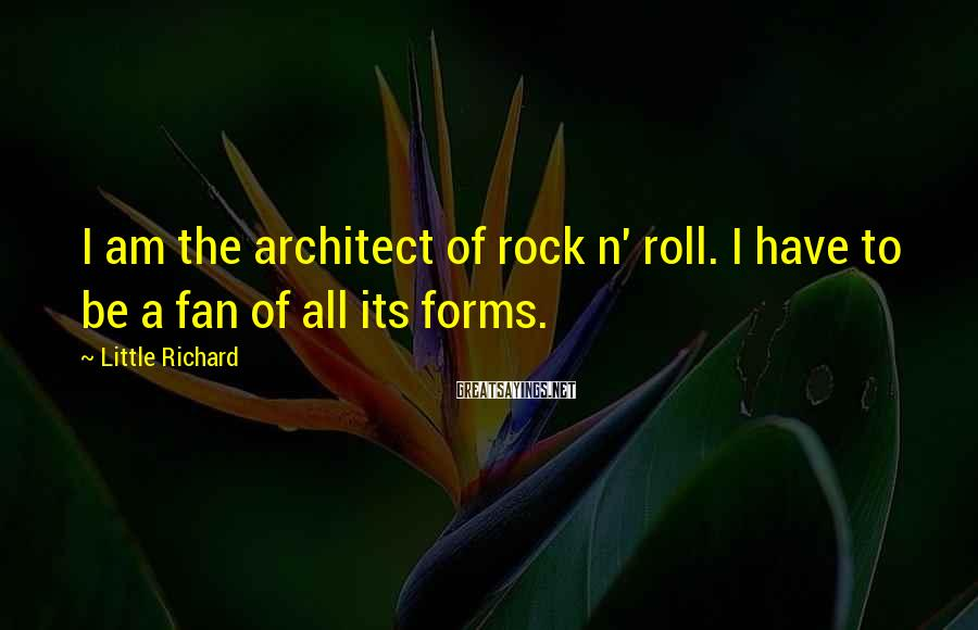 Little Richard Sayings: I am the architect of rock n' roll. I have to be a fan of