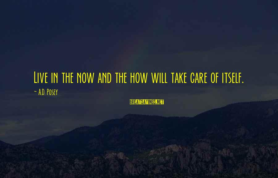 Live Now Quotes Sayings By A.D. Posey: Live in the now and the how will take care of itself.