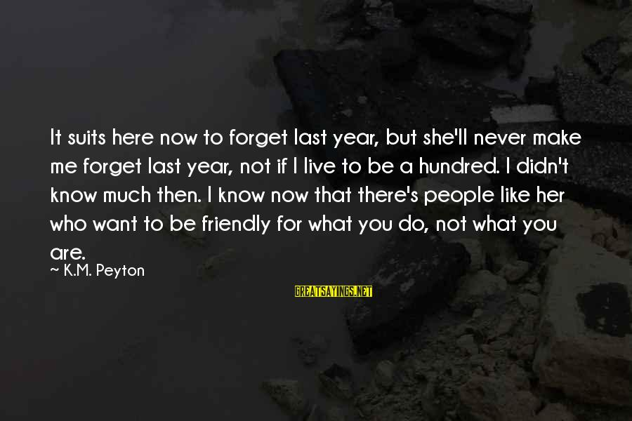 Live Now Quotes Sayings By K.M. Peyton: It suits here now to forget last year, but she'll never make me forget last