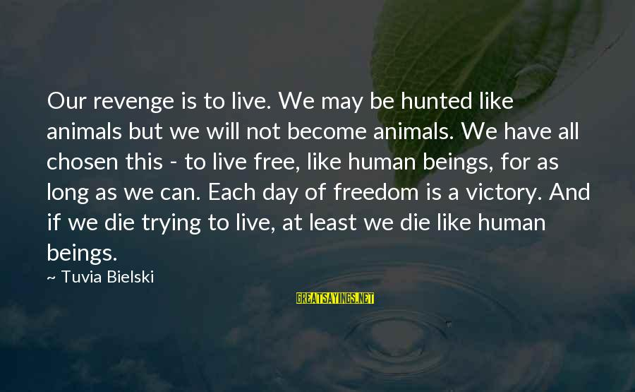 Live Or Die Trying Sayings By Tuvia Bielski: Our revenge is to live. We may be hunted like animals but we will not