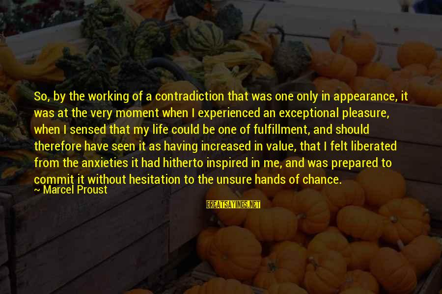 Living An Inspired Life Sayings By Marcel Proust: So, by the working of a contradiction that was one only in appearance, it was