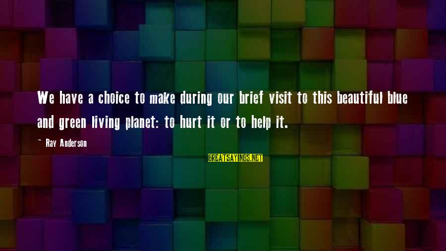 Living Green Sayings By Ray Anderson: We have a choice to make during our brief visit to this beautiful blue and