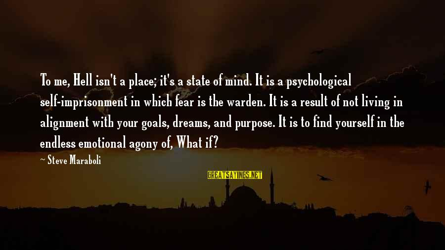 Living In Hell Sayings By Steve Maraboli: To me, Hell isn't a place; it's a state of mind. It is a psychological