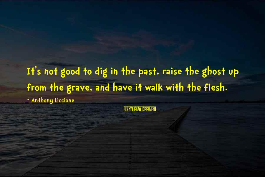 Living No Regrets Sayings By Anthony Liccione: It's not good to dig in the past, raise the ghost up from the grave,