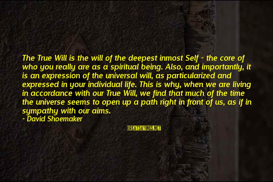 Living Your True Life Sayings By David Shoemaker: The True Will is the will of the deepest inmost Self - the core of