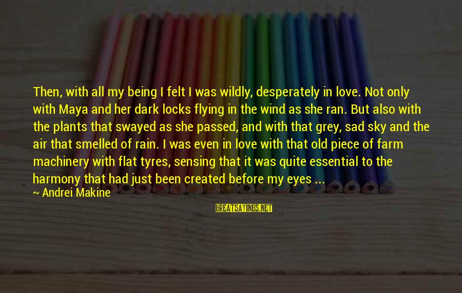Locks And Love Sayings By Andrei Makine: Then, with all my being I felt I was wildly, desperately in love. Not only