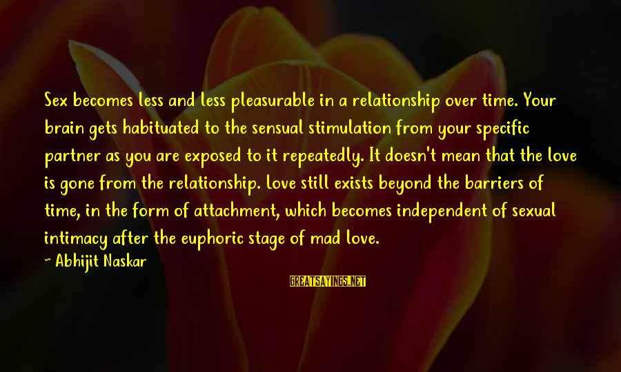 Long Term Relationship Sayings By Abhijit Naskar: Sex becomes less and less pleasurable in a relationship over time. Your brain gets habituated