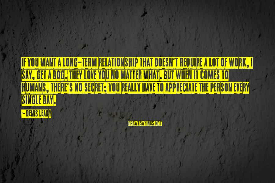 Long Term Relationship Sayings By Denis Leary: If you want a long-term relationship that doesn't require a lot of work, I say,