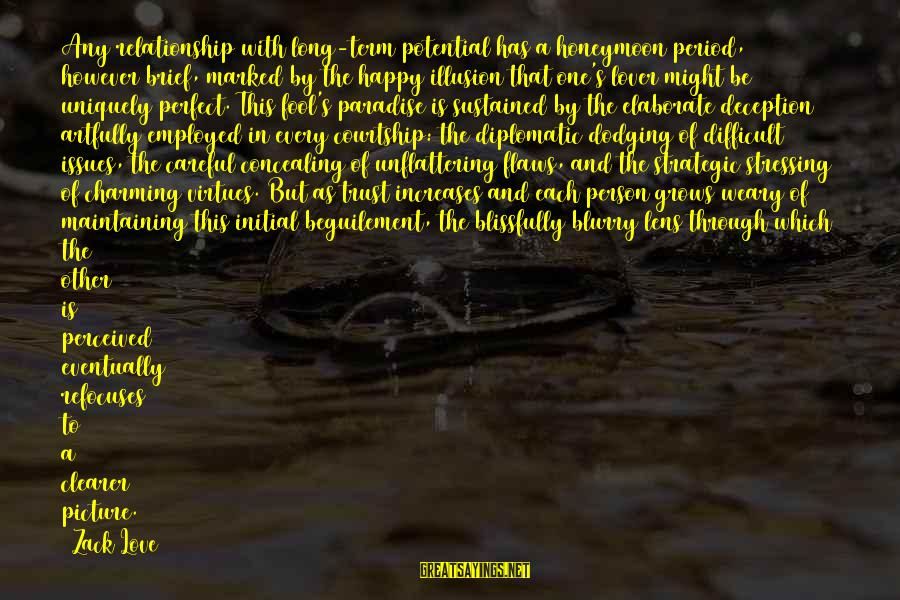 Long Term Relationship Sayings By Zack Love: Any relationship with long-term potential has a honeymoon period, however brief, marked by the happy