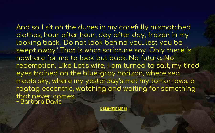 Look After Me Sayings By Barbara Davis: And so I sit on the dunes in my carefully mismatched clothes, hour after hour,
