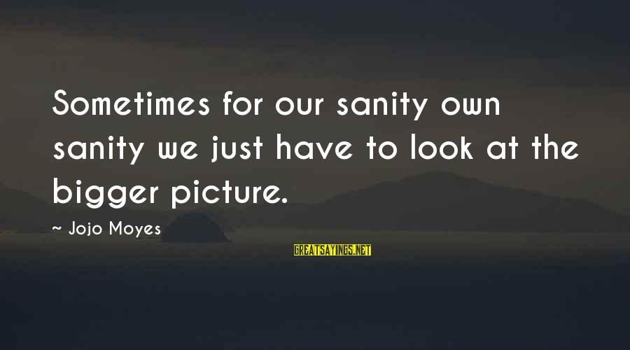 Look After Me Sayings By Jojo Moyes: Sometimes for our sanity own sanity we just have to look at the bigger picture.