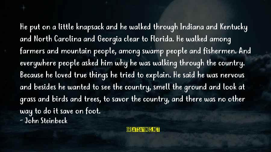 Look And See Sayings By John Steinbeck: He put on a little knapsack and he walked through Indiana and Kentucky and North