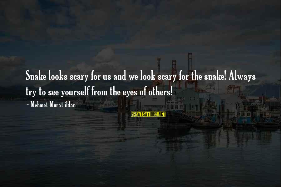 Look And See Sayings By Mehmet Murat Ildan: Snake looks scary for us and we look scary for the snake! Always try to