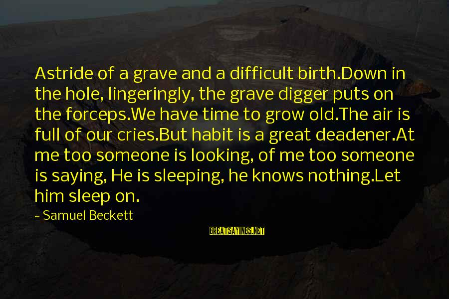 Looking At Him Sayings By Samuel Beckett: Astride of a grave and a difficult birth.Down in the hole, lingeringly, the grave digger