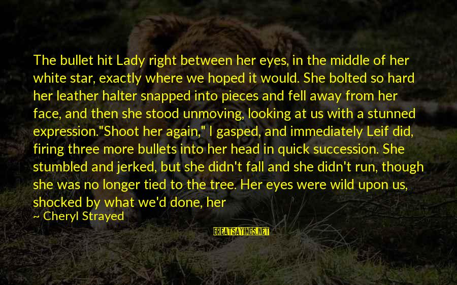 Looking Into The Eyes Sayings By Cheryl Strayed: The bullet hit Lady right between her eyes, in the middle of her white star,