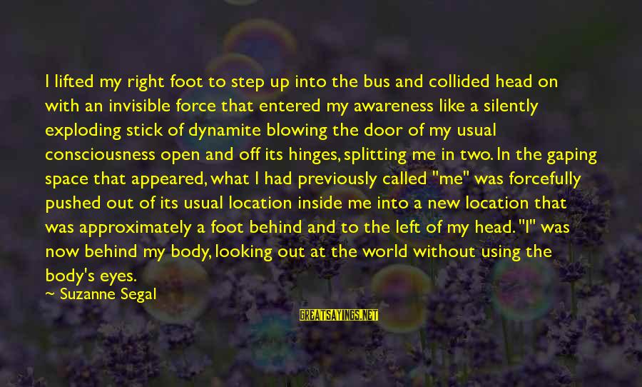 Looking Into The Eyes Sayings By Suzanne Segal: I lifted my right foot to step up into the bus and collided head on